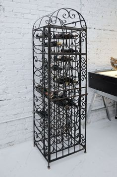 1940's Handmade Wrought Iron Wine Rack - beautiful