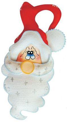 Fonte: kreateva     Papai Noel em E.V.A. para maçaneta   Materiais: Linha Premium Pele Kreateva Grafiato Branco Kreateva Metalizado Vermelh...