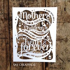 Papercut Template 'Mothers hold their childrens hands' by Samantha's Papercuts, SASCreative