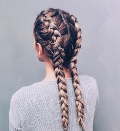 Separate your hair into two parts; then create two dutch braids right to the bot. Hairstyles, Separate your hair into two parts; then create two dutch braids right to the bottom. It's a great hairstyle and a major plus is you don't have to . Two Dutch Braids, Side Braids, Pigtail Braids, Two Braids, Dutch Hair, Fishtail Plaits, Long Braids, Side Braided Hair, Dutch Boxer Braids