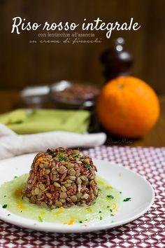 Riso+rosso+integrale+con+lenticchie+all'arancia+su+crema+di+finocchi