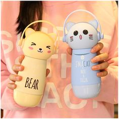 Color:pink cat,brown bear,blue cat,beige bear,  Size: Capacity:260ml. Height:28.6cm/11.15. Width:6.3cm/2.45. Fabric material:stainless steel.  Tips:  *Please double check above size and consider your measurements before ordering, thank you ^_^  more fashion kawaii products,please visit: