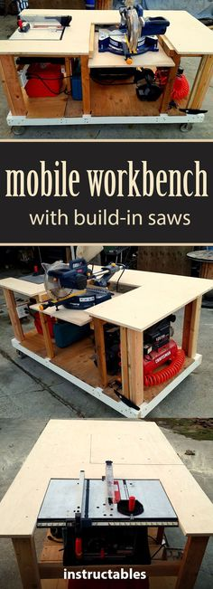 Workbench With Built-in Table & Miter Saws Get the instructions for how to make a mobile workbench for your shop.Get the instructions for how to make a mobile workbench for your shop. Mobile Workbench, Workbench Plans, Woodworking Workbench, Woodworking Equipment, Woodworking Furniture, Garage Workbench, Furniture Plans, Workbench Designs, Cardboard Furniture