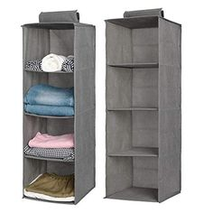 Aoolife Closet Hanging Shelves Organizer,Linen Cloth,Light and Breathable Collapsible Hanging Closet Organizer for Sock, Clothes, Bra, Toys and More Shelf- 2 Pack) Hanging Clothes Organizer, Hanging Closet Storage, Cubby Storage, Closet Shelves, Hanging Shelves, Under Bed Organization, Handbag Organization, Linen Bedding, Bed Linens