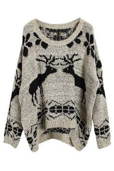 Asymmetric Knitted Elk Apricot Jumper