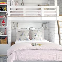 In a small room, a dual bunk bed makes space for the whole family. The queen size bed on the bottom and twin bed on top are a perfect pair for guests with young children.
