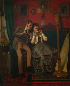 John George Brown - The Music Lesson [1870] | Arash Noorazar Virtual Art Gallery  #19th #Classic #John #George #Brown #Painting
