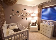 32 Brilliant Decorating Ideas For Small Baby Nursery Room : Baby Room Design Idea With White Recliner Chair Also Drum Wall Light Along With White Baby Crib And White Drawers Along With Light Gray Wall Paint Color Baby Bedroom, Baby Boy Rooms, Baby Room Decor, Baby Boy Nurseries, Room Baby, Unisex Baby Room, Newborn Room, Bedroom Boys, Infant Room