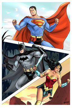 """batmannotes: """" Superman, Batman & Wonder Woman by Daniel Mallzhen """" Dc Comics Superheroes, Batman Comics, Marvel Universe, Trinidad, Batman E Superman, Dc Trinity, Dc World, Batman Wonder Woman, Famous Cartoons"""