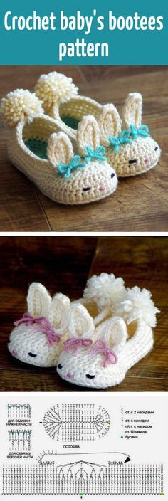 New Ideas Crochet Baby Patterns Booties Link Crochet Diy, Crochet Bebe, Crochet Slippers, Love Crochet, Crochet For Kids, Crochet Crafts, Crochet Projects, Bunny Slippers, Crochet Rabbit