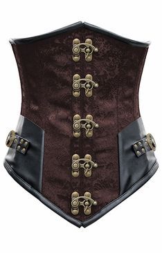 1293 Brown Steel Boned Under Bust Corset with Black Faux Leather Trim