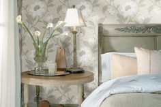Transitional Floral Wallpaper in Neutrals by Brewster available at http://lelandswallpaper.com