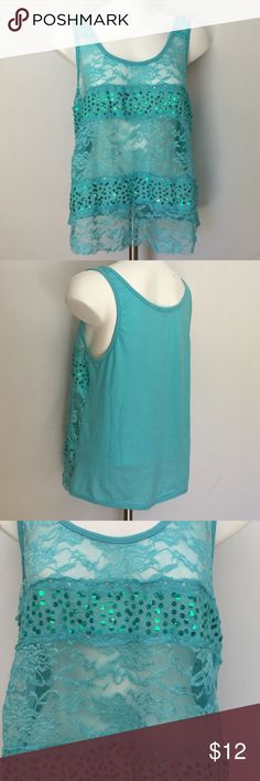 Charlotte Russe Sequined Tank 🍁 Charlotte Russe Tank in pretty blue green. Lace and sequins. Pictures pretty true to color. Great shape. Size XL. Charlotte Russe Tops