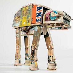This AT-AT statue is made entirely of used skateboards.