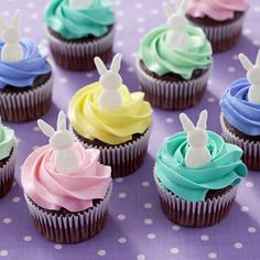 Hop to it and decorate your Easter cupcakes with iconic bunny shapes made using Candy Melts® Candy. The brightly colored icing swirls top the chocolate cupcakes, making these treats worthy of a prominent display on your Easter dessert table. Easter Cupcakes, Easter Cookies, Easter Treats, Easter Cup Cakes Ideas, Candy Melts, Cupcake Recipes, Cupcake Cakes, Cupcake Ideas, Cupcake Decorations