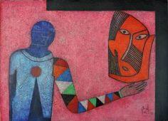 Arlequin azul sobre fondo rosa sosteniendo una mascara africana