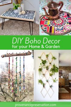 A collection of DIY Boho decor projects including table, tray, wind chime and plant trellis An eclectic style that is colorful and fun. Here's a collection of DIY Boho home and garden projects, inluding furniture, planters and wall art. Diy Home Decor Rustic, Handmade Home Decor, Cheap Home Decor, Farmhouse Decor, Diy Decorations For Home, Modern Farmhouse, Boho Diy, Bohemian Decor, Bohemian Crafts