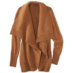 Merona Women's Chunky Cardigan Sweater - Assorted Colors ($30) ❤ liked on Polyvore featuring tops, cardigans, sweaters, jackets, outerwear, burnt orange, brown open front cardigan, long sleeve tops, burnt orange cardigan and chunky shawl collar cardigan