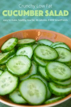 This simple Weight Watchers cucumber salad recipe is a perfect example. It comes together in less than ten minutes, especially if you have one of these handy dandy hand-held slicers (affiliate link). Salad Recipes Healthy Lunch, Salad Recipes For Dinner, Easy Healthy Recipes, Healthy Foods, Dinner Healthy, Healthy Fruits, Healthy Cooking, Healthy Eats, Hungry Girl Diet