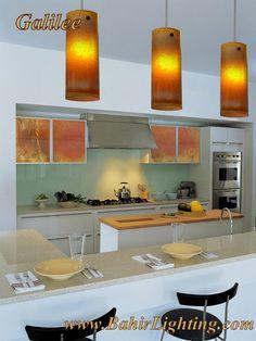 Handmade, fused glass Galilee pendant lights. www.BahirLighting.com Custom Glass, Pendant Lights, Fused Glass, Kitchens, Lighting, Table, Handmade, Furniture, Home Decor