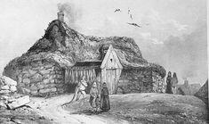 «Maison de pêcheur à Reykjavík. Elle est construite avec des blocs arrondis de dolérite et couverte d'un gazon épais que les animaux vont brouter. (Text from Paul Gaimard) Engraving from Paul Gaimard 1835.»