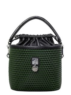 GOSHICO, Bucket Bag (with belt), green. To download high or low resolution photos view Mondrianista.com (editorial use only).