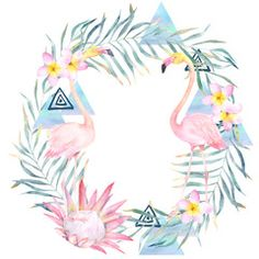 Illustration: Summer colorful wreath with palm leaves, flamingo, geometrical elements and flowers. Watercolor hand drawn illustration