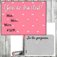 NEW!!! Digital Downloads for Mary Kay Postcards & Fliers! Pink Bow You're Invited only $4.99 on www.kellymariedesigns.com