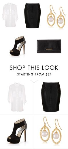 """""""Untitled #3"""" by lokisqueen14 ❤ liked on Polyvore featuring Pull&Bear, Boutique, MICHAEL Michael Kors, Majorica, Yves Saint Laurent, WorkWear and BlackBlazer"""