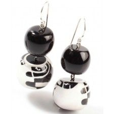 ZSISKA earrings in a cool black white design, 2 beads; ABSTRACT. HAND MADE