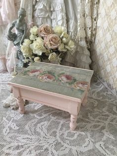 A personal favorite from my Etsy shop https://www.etsy.com/listing/234975534/shabby-pink-storage-stoolsewing