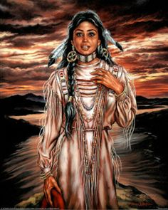 Native American Pin Up Girls | Native American Indian Girl Sunset Art Print POSTER Poster
