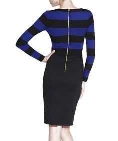 Blue & black striped dress Sale - NISSA