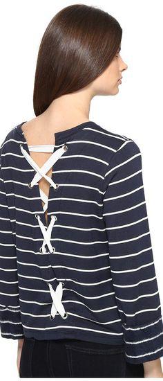 Splendid Dune Stripe Lace Up Back Top (Navy/White) Women's Long Sleeve Pullover - Splendid, Dune Stripe Lace Up Back Top, ST10916-407, Apparel Top Long Sleeve Pullover, Long Sleeve Pullover, Top, Apparel, Clothes Clothing, Gift, - Street Fashion And Style Ideas