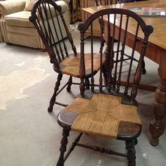 Vintage Chairs - reglued and rescrewed by our good friend Terry Brand - master woodworker.Sikes Set of Six. Say that 5x's really fast!