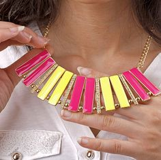 Gold Chunky Yellow Pink Enamel Choker Lace Collar Bib Statement Fashion Necklace | eBay