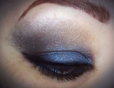 Maybelline, The Rock Nudes palette. I used the taupe lilac, the  shimmery blue, and the glittery black with lots of mascara and black liner. Love this palette.