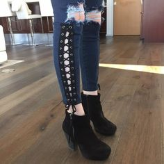 LF lace up denim! Really cute ankle Jean with lace up side detail LF Jeans Ankle & Cropped