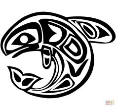 Haida Art - Whale coloring page from Canadian Aboriginal Art category. Select from 29189 printable crafts of cartoons, nature, animals, Bible and many more. Whale Coloring Pages, Pattern Coloring Pages, Free Coloring Pages, Printable Coloring, Arte Haida, Haida Art, Native Art, Native American Art, Aboriginal Art Symbols