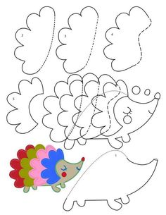 Pattern Used Felt hedgehog Applique Templates, Applique Patterns, Star Template, Felt Patterns, Sewing Patterns, Felt Crafts, Paper Crafts, Art For Kids, Crafts For Kids