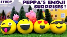 Peppa Pig Play Doh Surprise Egg Emojis with Thomas and Friends and Disne...