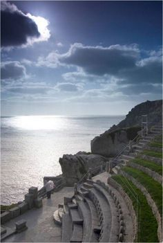 Minack Theatre, Cornwall, England - watched Shakespeare here in in storm where sea blew over edge of theatre. Cornwall England, Devon And Cornwall, Yorkshire England, Yorkshire Dales, West Cornwall, Places To Travel, Places To See, Travel Destinations, Beautiful World