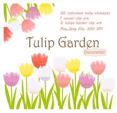 Flowers clip art Tulip garden clip art by Decorartistclipart