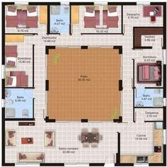 Fotos-casas-minimalista-con-patio-interno-y-modernas-de-una-sola-planta.jpg (590×592) #casasrusticasmexicanas #casasminimalistasdeunaplanta #casasmodernasdeunaplanta