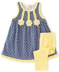 KHQ Toddler Girl 2 piece Navy/ Yellow Knit Capri Set - Overstock™ Shopping - Great Deals on Girls' Sets African Dresses For Kids, Little Girl Outfits, Toddler Girl Outfits, Toddler Girl Dresses, Kids Outfits, Toddler Girls, Baby Girls, Baby Girl Frocks, Frocks For Girls