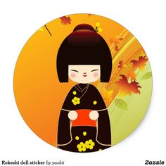Pegatinas de parachoques Kokeshi doll sticker | Zazzle Portugal