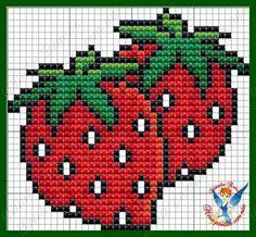 CROSS-STITCH - GARDEN / JARDIN / TUIN - STRAWBERRY / FRAISE / AARDBEI - Cat Cross Stitches, Needlepoint Stitches, Cross Stitching, Cross Stitch Embroidery, Hand Embroidery, Cross Stitch Fruit, Mini Cross Stitch, Cross Stitch Rose, Cross Stitch Charts