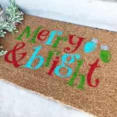 DIY stenciled doormats have been super popular this year. This tutorial will show you how to make your own custom doormat just in time for Christmas. Christmas On A Budget, Christmas Crafts, Christmas Stencils, Christmas Wishes, Christmas Stuff, Xmas, Stencil Rug, Grinch Christmas Decorations, Christmas Doormat