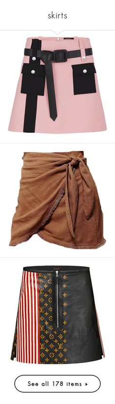 """""""skirts"""" by liliakorobkina ❤ liked on Polyvore featuring skirts, louis vuitton, bottoms, brown skirt, brown, brown a line skirt, knee length a line skirt, vivienne westwood anglomania, a-line skirt and denim"""