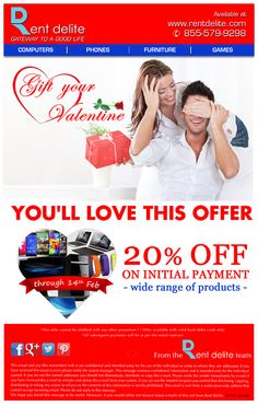 RentDelite offers Gift Your Valentine Sale on #Phones, #Smartwatches, #Tablets, #VideoGames, #Handbags, #Computers. Gift your Valentine and get 20% Off on Initial Payment. #valentinesday #ValentineSale